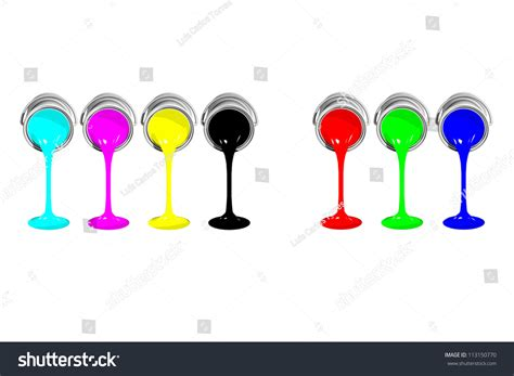 isolated cmyk and rgb paint cans on white background stock photo 113150770
