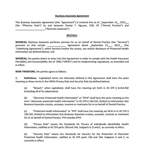 hipaa business associate agreement template sle business associate agreement 9 free documents