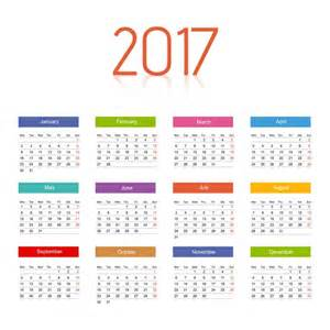 color calendar 2017 calendar with colors vector free
