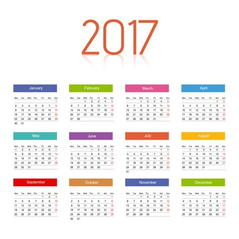 color of 2017 2017 calendar with colors vector free download