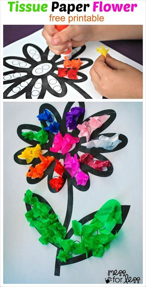 Flower Tissue Paper Craft - tissue paper flower activity activities flower