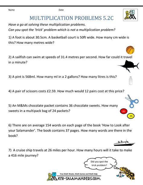 decimal multiplication word problems printable math