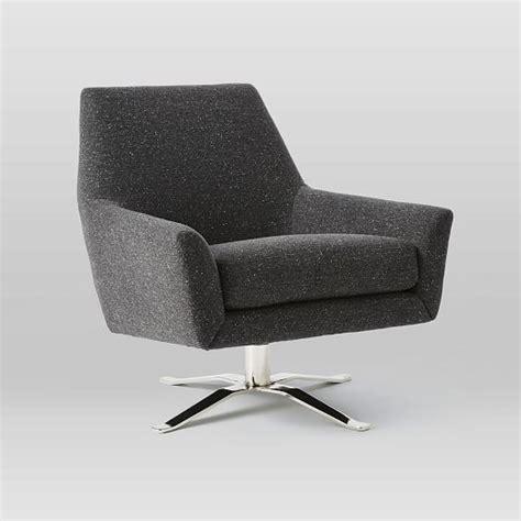 Lucas Swivel Base Chair Asphalt Tweed West Elm Swivel Base Chair