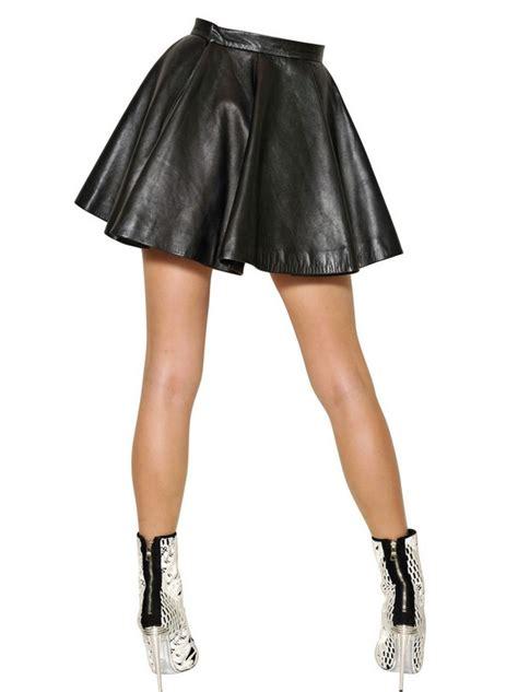 balmain nappa leather skirt in black lyst