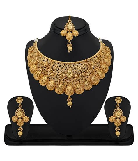 Set Gold Cantiq 32 rg fashions zinc gold plated kundan golden choker necklace set with maang tikka for