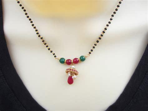 black bead necklace indian sale 15 mangalsutra with jhumka pendant black