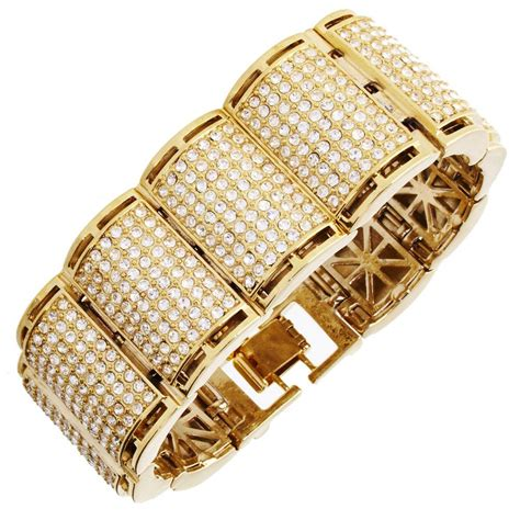 Bling Gold Ar iced out bling hip hop bracelet armband rick ross gold armb 228 nder iced out biz