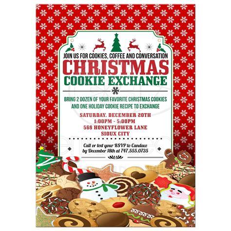 party invitation christmas cookie exchange swap