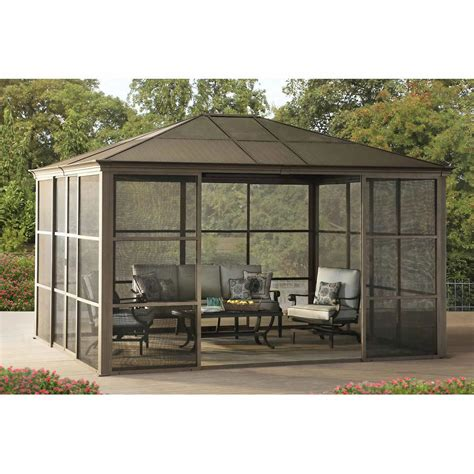 Hardtop Patio Gazebo 12 X 14 Hardtop Gazebo Metal Steel Aluminum Roof Post Outdoor For Patio Room Set Gazebos