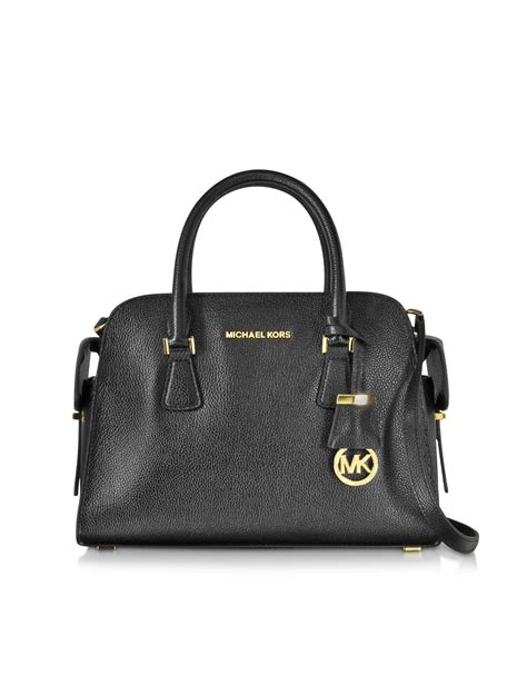 Michael Michael Kors Saratoga Leather Satchel lyst michael kors black glazed ranch leather