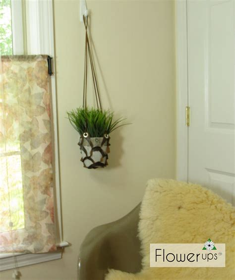 hanging planters diy diy hanging planter cut leather and grommets flowerups