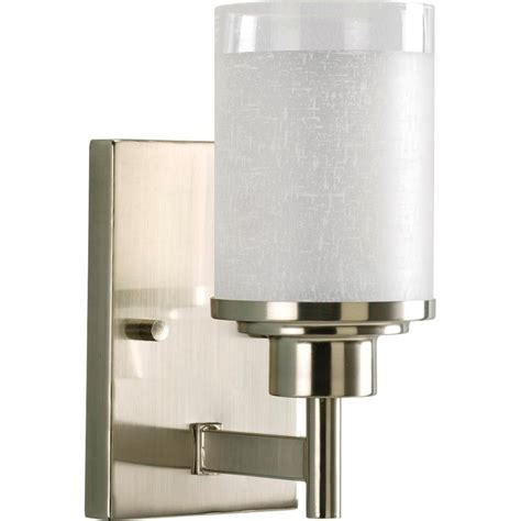 home depot bathroom vanity light fixtures progress lighting alexa collection 1 light brushed nickel