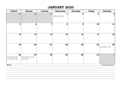 hong kong monthly calendar  notes  printable templates