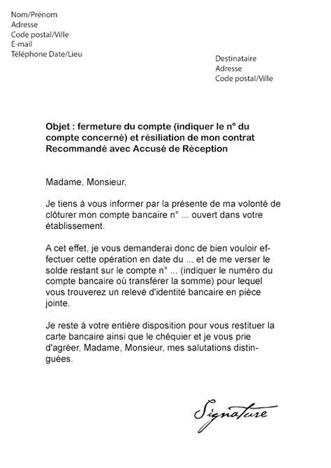 Exemple De Lettre De Demande De Relevé Bancaire Modele Lettre Resiliation Compte Bancaire Document