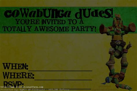 tmnt birthday card template ninja turtle invitation free invitations ideas