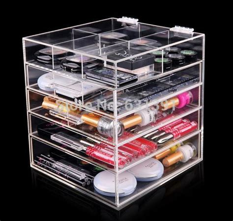 Acrylic Make Up 2 Drawer Akrilik get cheap icebox makeup organizer aliexpress