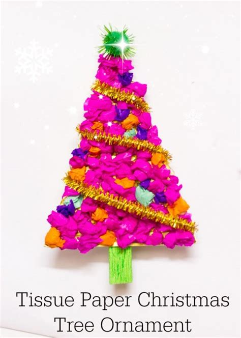 Tissue Paper Tree Craft - tissue paper tree ornament make and takes