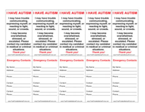 autism wallet card template new printable forms