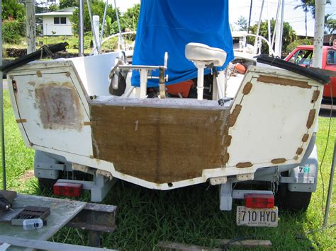 how to reinforce a fiberglass boat transom gw transom pourin or wood the hull truth boating and