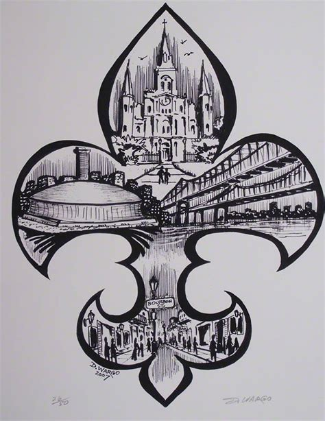 watercolor tattoo new orleans fleur de lis painting by the new orleans artist