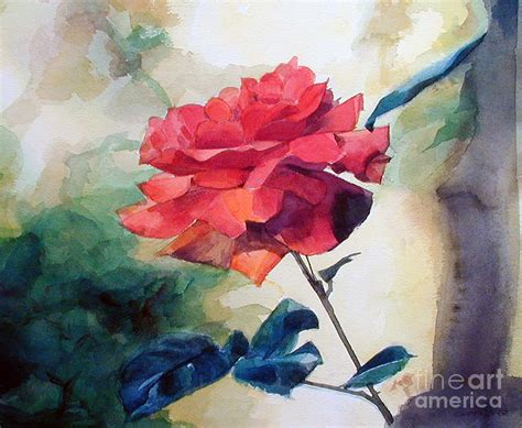 Roses Duvet Cover Red Rose On A Branch Painting By Greta Corens