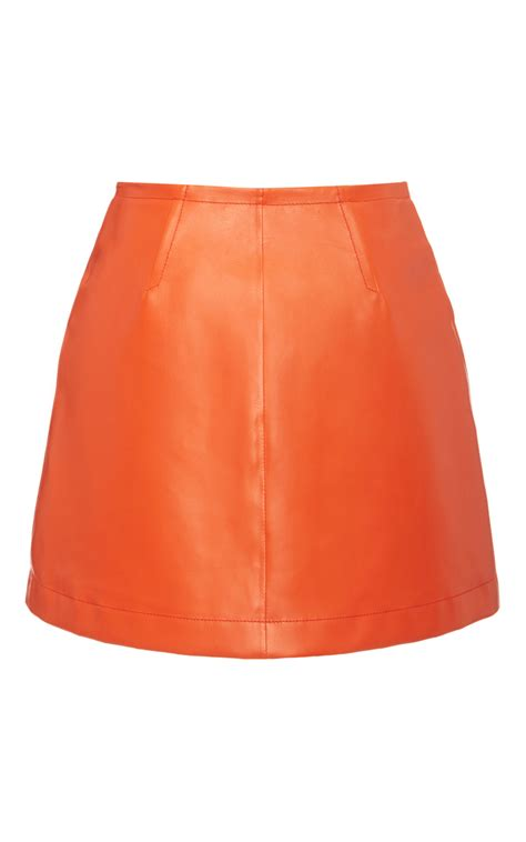 bally leather skirt in blaze orange in orange lyst