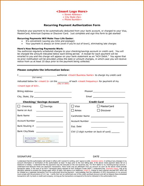 credit card recurring payment authorization form template 11 recurring credit card authorization form lease template