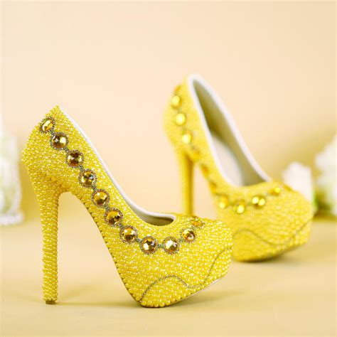 Yellow Bridal Shoes by 2017 New Designer Yellow Bridal Shoes Handmade Pearl