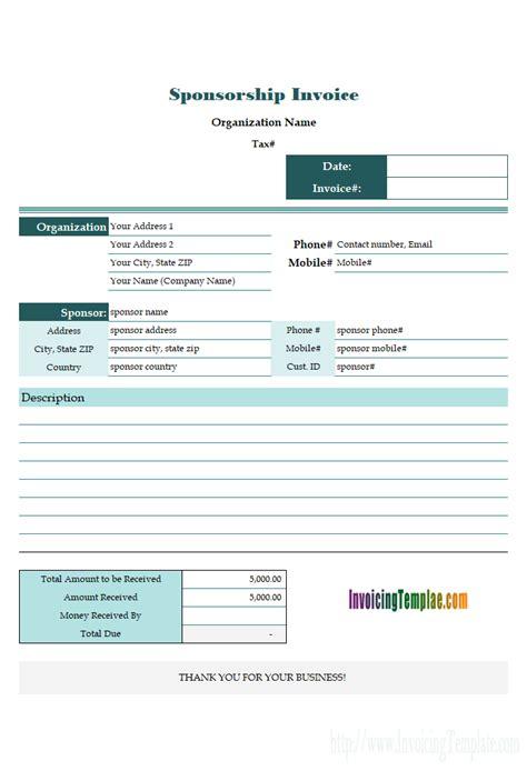 Excel Invoice Template Quebec Exle Sponsorship
