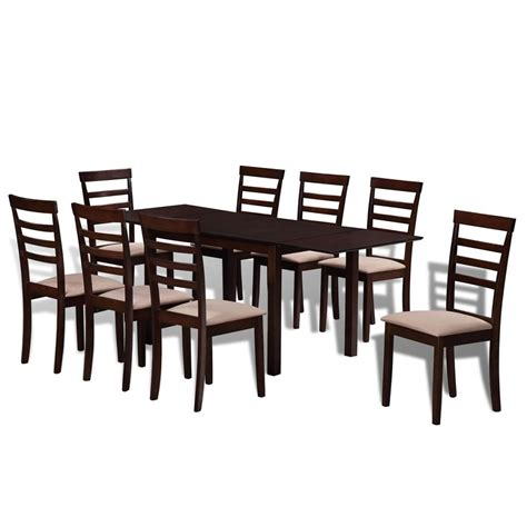 brown solid wood extending dining table set with 8