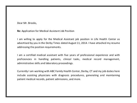 Example Medical Assistant Cover Letter Resume