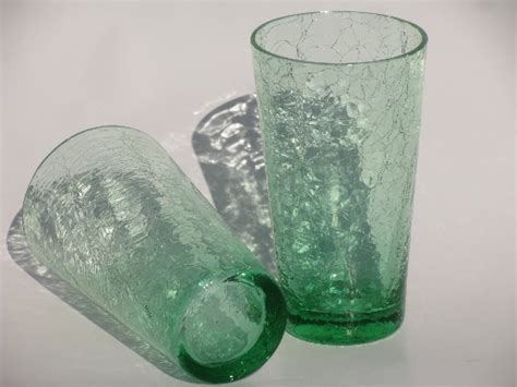 pale green crackle glass tumblers retro mid century