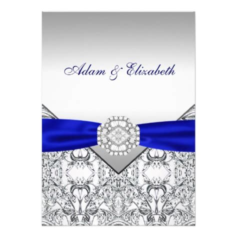 wedding invitations royal blue and silver silver and royal blue wedding invitations zazzle