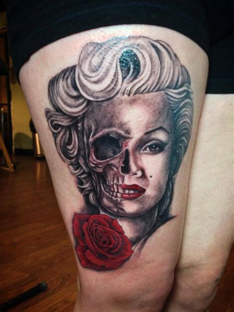 half skull half rose tattoo realistic grey ink umbrella on
