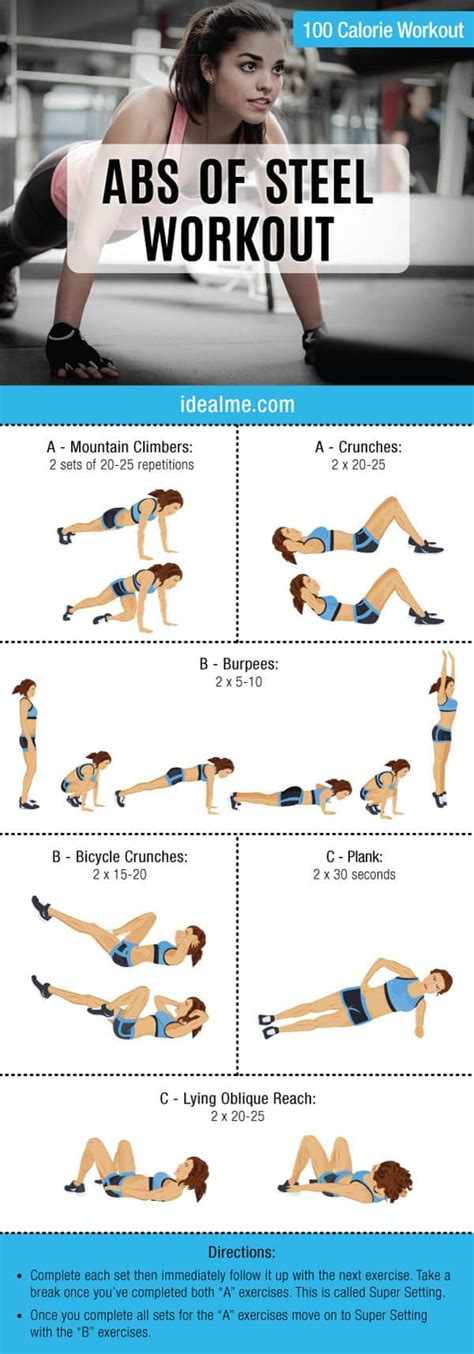 abs of steel 100 calorie workout ideal me