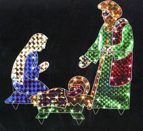 3 piece holographic lighted christmas nativity set yard