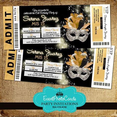 gold black invitations ticket 1 masquerade ball