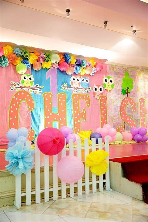 theme names for a birthday party its an owl theme birthday stage decor ans styro standee