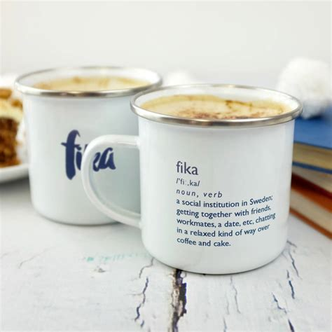 hygge inspired enamel fika mug by auntie mims   notonthehighstreet.com