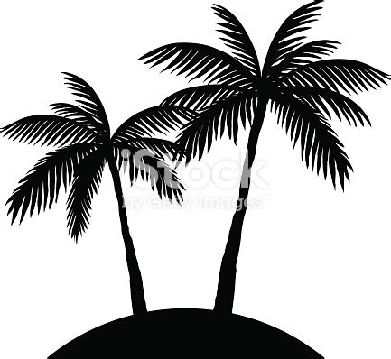 two palm trees silhouette stock vector art & more images