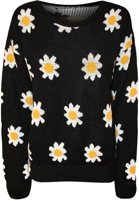 Flower Jumper Pattern | new womens flower pattern long sleeve knitted top ladies