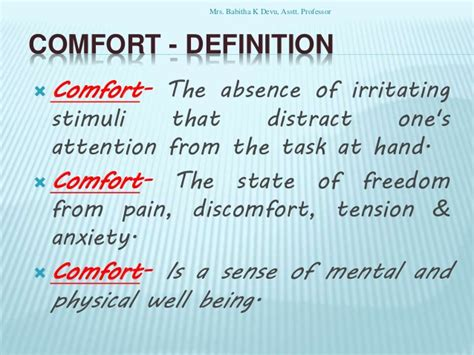 comfortable meaning comfort devices