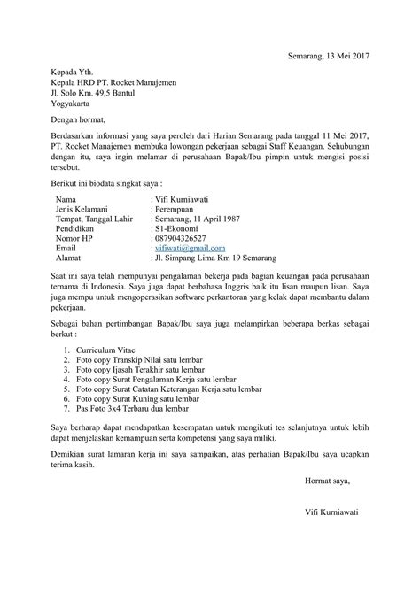 Apakah Di Lop Lamaran Kerja Ditulis by Contoh Surat Lamaran Kerja Untuk Fair Kotasurat