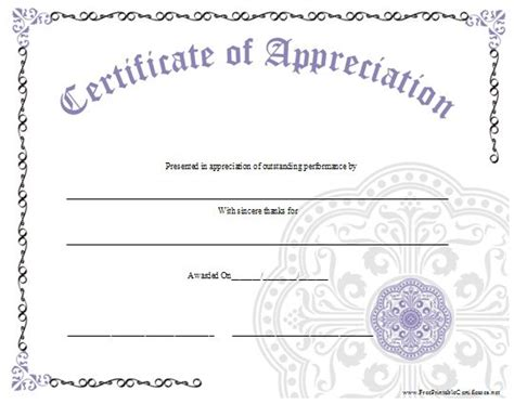Free Printable Templates For Certificates Of Recognition by An Ornate Certificate Of Appreciation With A Large