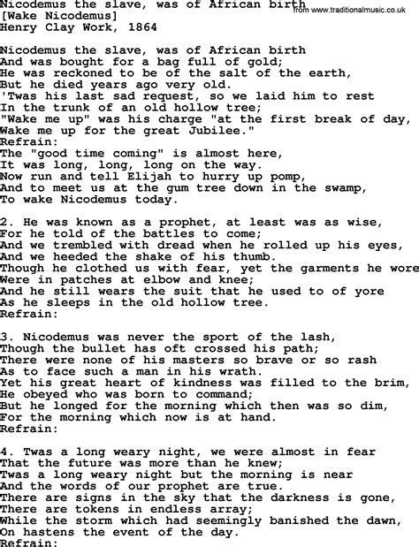 An American Song American Song Lyrics For Nicodemus The Was Of Birth With Pdf