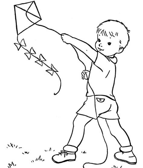 spring kite coloring page kid playing kite spring coloring page spring coloring