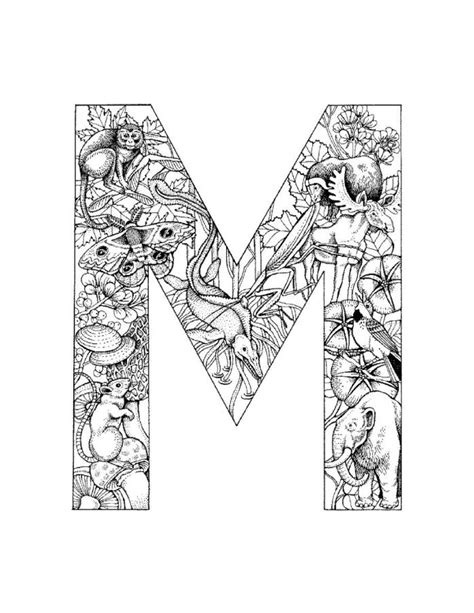 M Coloring Pages by Free Coloring Pages Of The Letter M Design