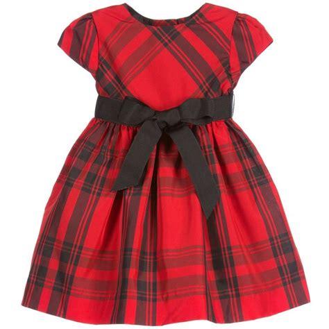 baby girls smart red tartan short sleeved dress  ralph