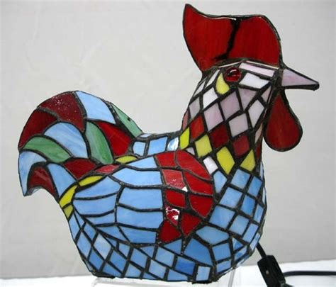 stained glass rooster l stained glass rooster l lot 1042