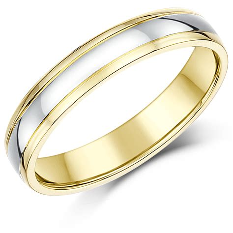 Two Tone Wedding Bands by Two Colour Wedding Rings Choose From 9ct 18ct Two Tone
